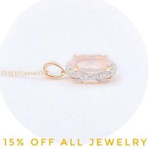 🆕Gen Diamond Pink Sapphire 14K GF Necklace. NWT!